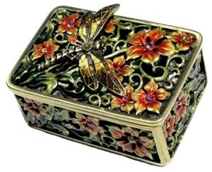 Dragonfly Box With Orange Flowers